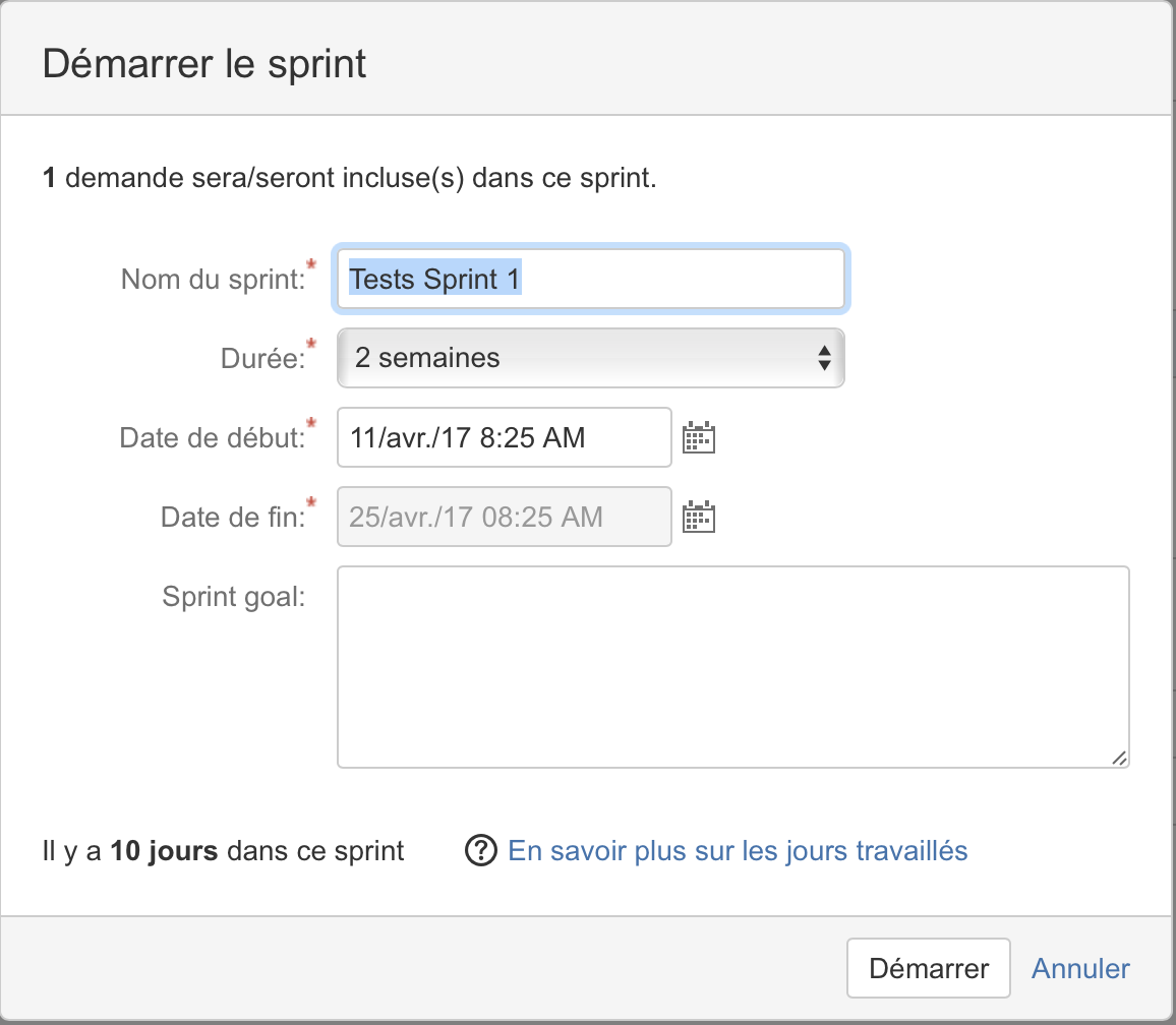 Options pour démarrer un sprint Jira