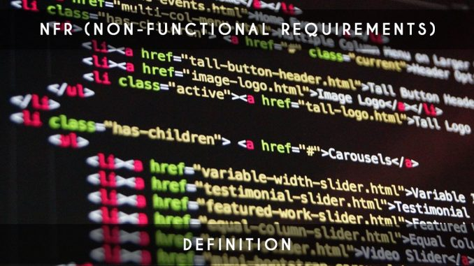 nfr - nonfunctionnal requirements