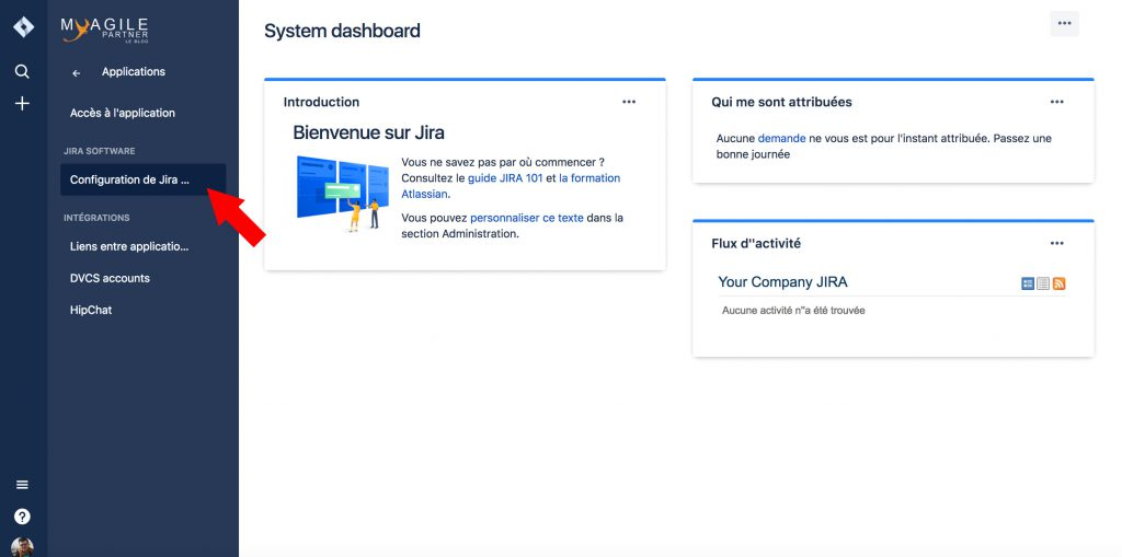 paramètres applications jira