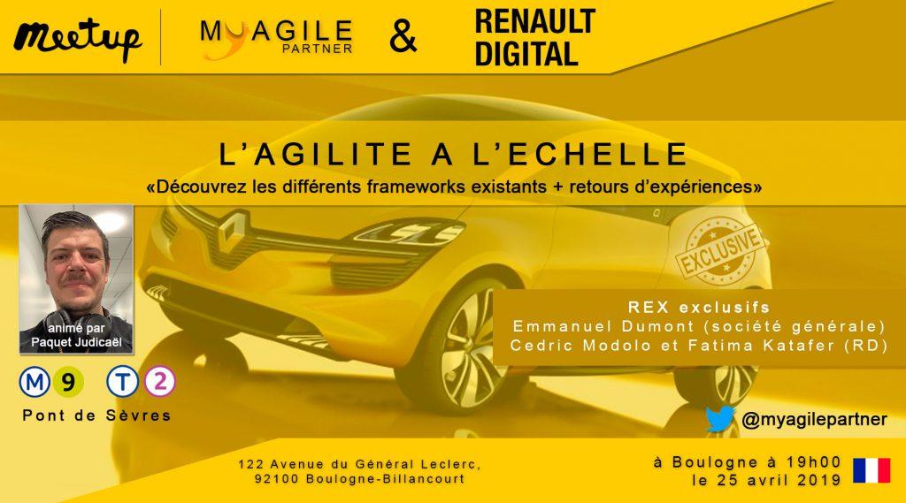 Meetup : L'agilité à l'échelle, framework et rex Société General/Renault Digital.