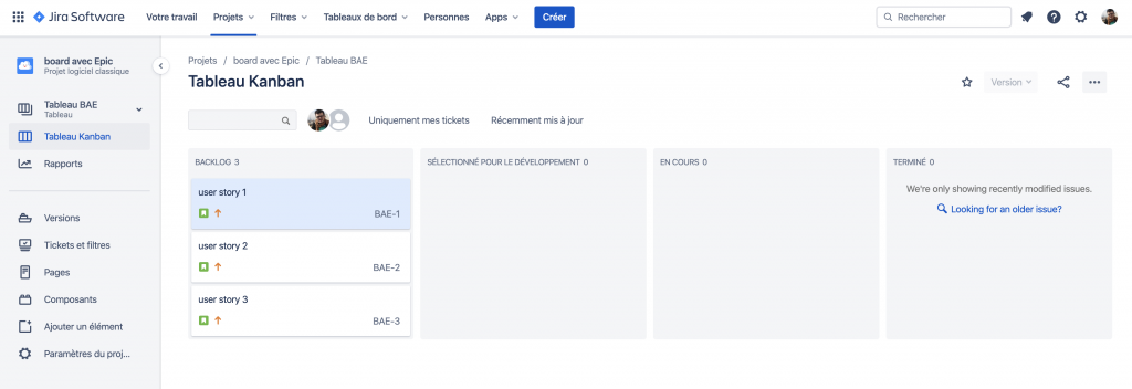 board jira avec des user stories