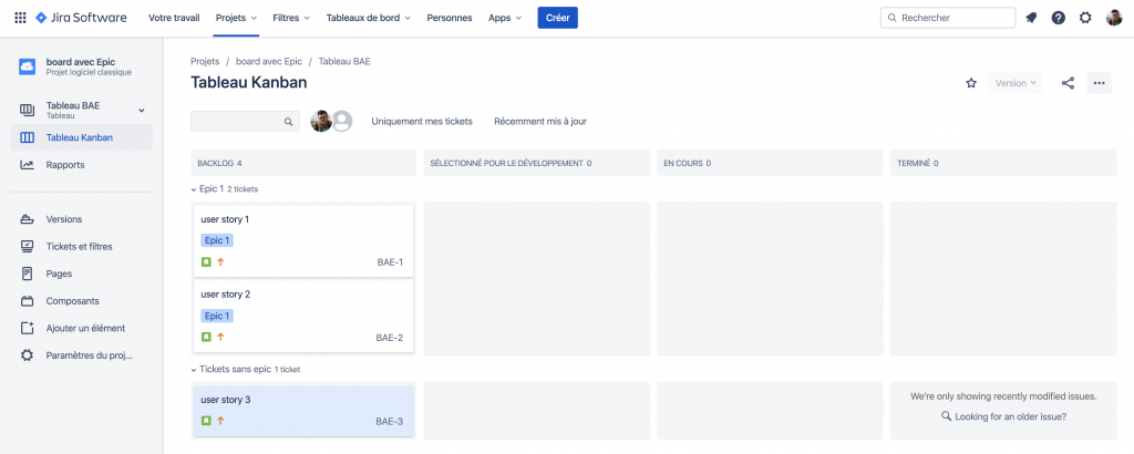 board jira with user stories gathered by epic - epic jira